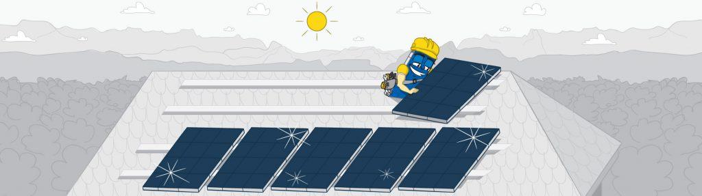 Brand hero montujący panele fotowoltaiczne na dachu