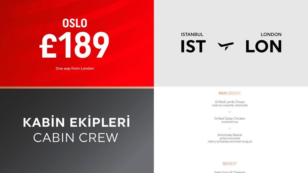 Turkish Airlines wygląd typografii