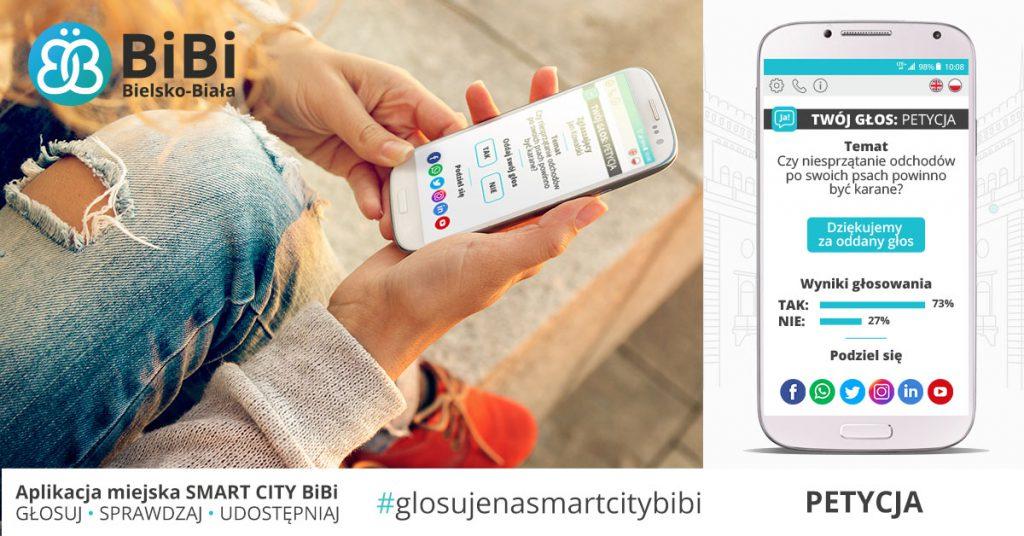 głosowanie za pomocą aplikacji miejskiej smart city bibi