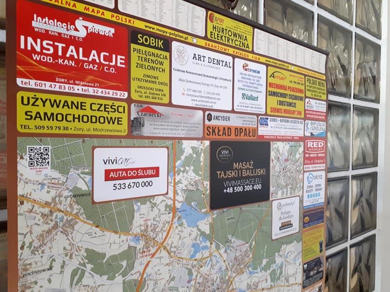 mapa miasta żory z reklamami wokół